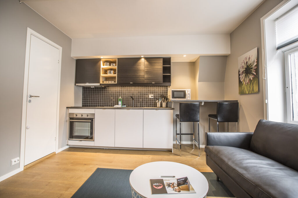 Five modern and fully equipped apartments in Hetlandsgata 20. Just a five-minute walk from the city center of Stavanger, close to the bus and train station. There are five parking spaces available for rent.